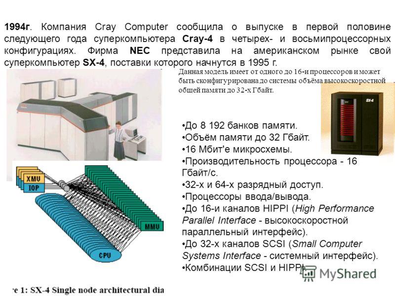 1994г. Компания Cray Computer сообщила о выпуске в первой половине следующего года суперкомпьютера Cray-4 в четырех- и восьмипроцессорных конфигурациях. Фирма NEC представила на американском рынке свой суперкомпьютер SX-4, поставки которого начнутся