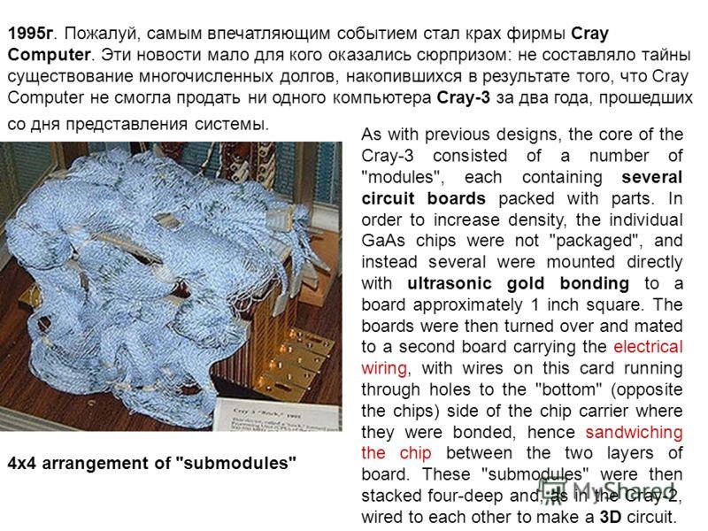 1995г. Пожалуй, самым впечатляющим событием стал крах фирмы Cray Computer. Эти новости мало для кого оказались сюрпризом: не составляло тайны существование многочисленных долгов, накопившихся в результате того, что Cray Computer не смогла продать ни