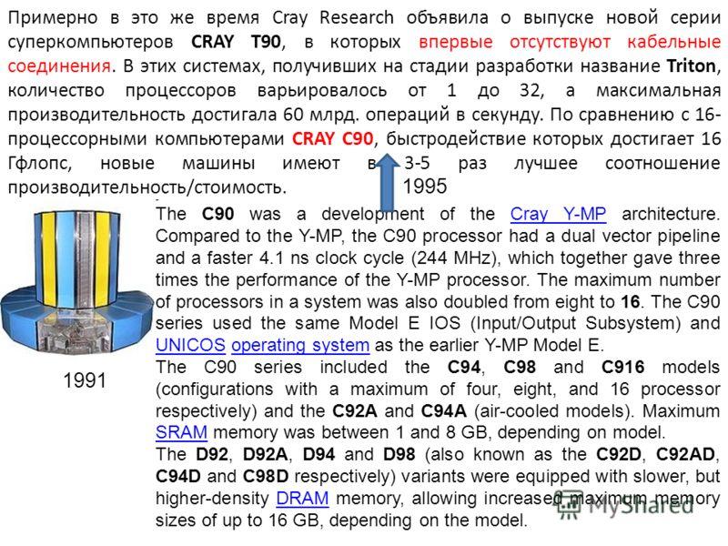 Примерно в это же время Cray Research объявила о выпуске новой серии суперкомпьютеров CRAY T90, в которых впервые отсутствуют кабельные соединения. В этих системах, получивших на стадии разработки название Triton, количество процессоров варьировалось