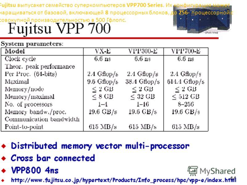 Fujitsu выпусакет семейство суперкомпьютеров VPP700 Series. Их конфигурация может наращиваться от базовой, включающей 8 процессорных блоков, до 256- процессорной с совокупной производительностью в 500 Гфлопс.