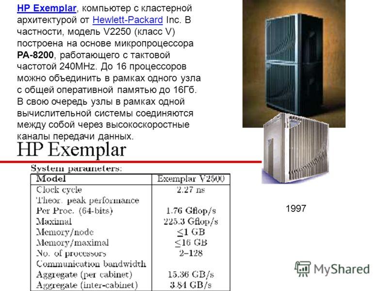 HP ExemplarHP Exemplar, компьютер с кластерной архитектурой от Hewlett-Packard Inc. В частности, модель V2250 (класс V) построена на основе микропроцессора PA-8200, работающего с тактовой частотой 240MHz. До 16 процессоров можно объединить в рамках о