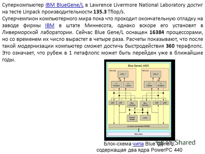 Суперкомпьютер IBM BlueGene/L в Lawrence Livermore National Laboratory достиг на тесте Linpack производительности 135.3 Tflop/s.IBM BlueGene/L Суперчемпион компьютерного мира пока что проходит окончательную отладку на заводе фирмы IBM в штате Миннесо