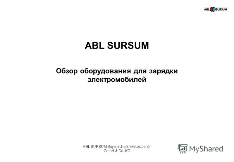 ABL SURSUM Bayerische Elektrozubehör GmbH & Co. KG ABL SURSUM Обзор оборудования для зарядки электромобилей ABL SURSUM Bayerische Elektrozubehör GmbH & Co. KG