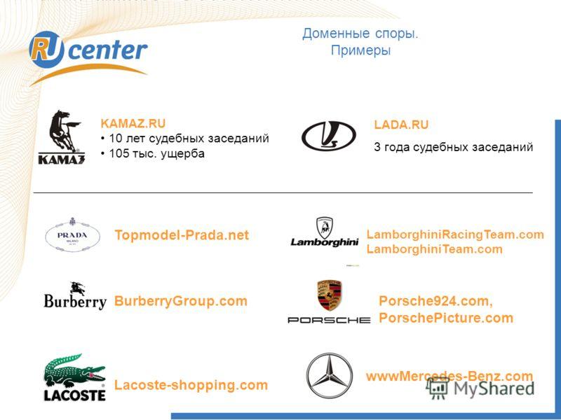Доменные споры. Примеры KAMAZ.RU 10 лет судебных заседаний 105 тыс. ущерба LADA.RU 3 года судебных заседаний Topmodel-Prada.net LamborghiniRacingTeam.com LamborghiniTeam.com Lacoste-shopping.com Porsche924.com, PorschePicture.com BurberryGroup.com ww