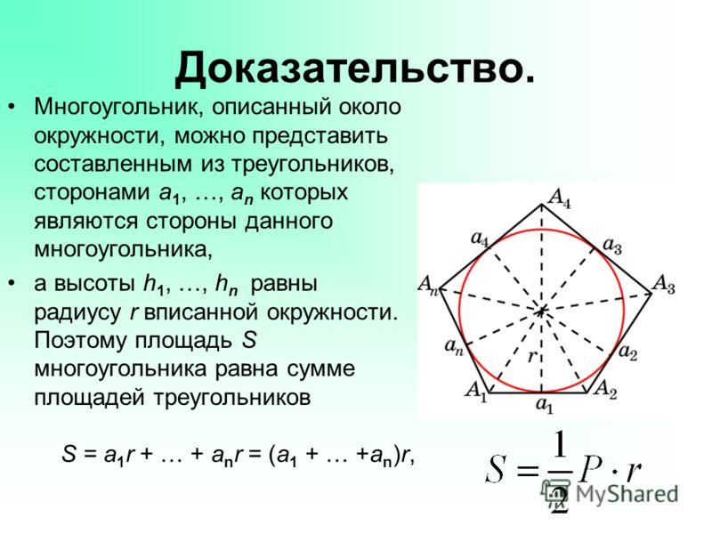 Доказательство. Многоугольник, описанный около окружности, можно представить составленным из треугольников, сторонами a 1, …, a n которых являются стороны данного многоугольника, а высоты h 1, …, h n равны радиусу r вписанной окружности. Поэтому площ