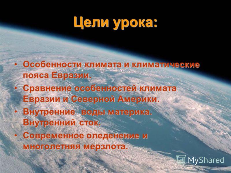Цели урока: Особенности климата и климатические пояса Евразии.Особенности климата и климатические пояса Евразии. Сравнение особенностей климата Евразии и Северной Америки.Сравнение особенностей климата Евразии и Северной Америки. Внутренние воды мате