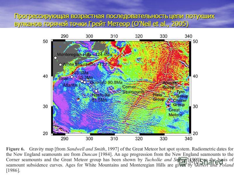 Прогрессирующая возрастная последовательность цепи потухших вулканов горячей точки Грейт Метеор (ONeil et al., 2005)