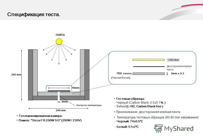 Спецификация теста. Теплоизолированная камера. Лампа : Sicca FR 250W SG (250W / 230V) 3mm ПВХ панель3mm ± 0.2 Контроль температуры 240 mm 245 mm Тестовые образцы: - Черный (Carbon Black: 0.5±0.1% ) - Белый(L>92, Carbon Black free ) Приклеивание: двус