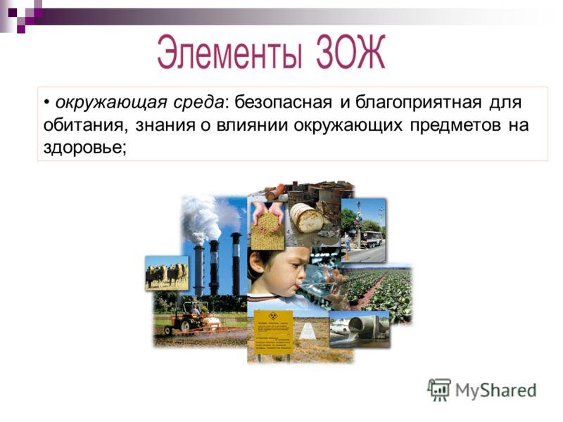 окружающая среда: безопасная и благоприятная для обитания, знания о влиянии окружающих предметов на здоровье;