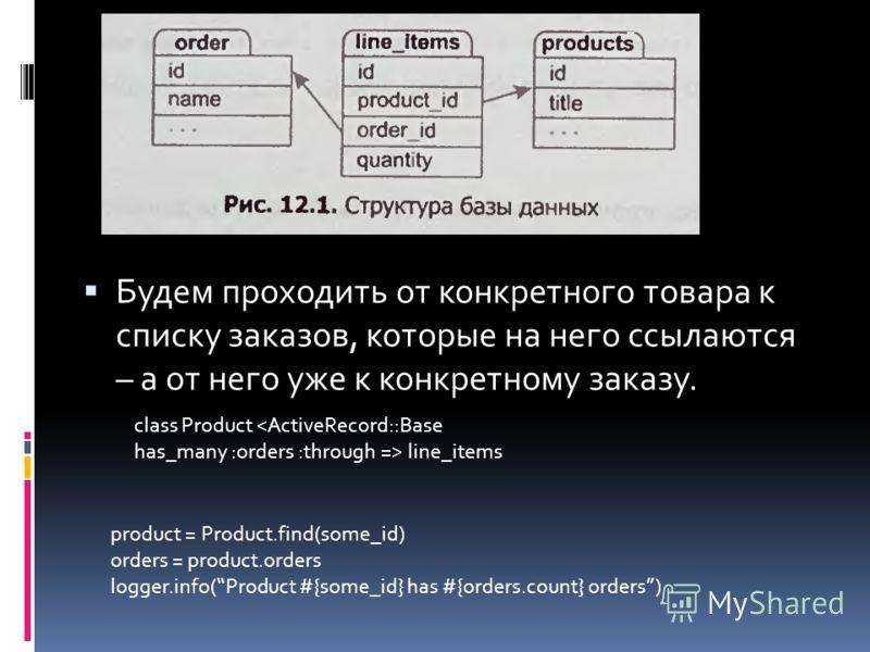 Будем проходить от конкретного товара к списку заказов, которые на него ссылаются – а от него уже к конкретному заказу. class Product  line_items product = Product.find(some_id) orders = product.orders logger.info(Product #{some_id} has #{orders.coun