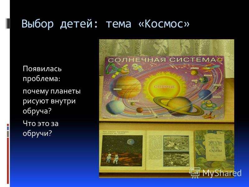Выбор детей: тема «Космос» Появилась проблема: почему планеты рисуют внутри обруча? Что это за обручи?