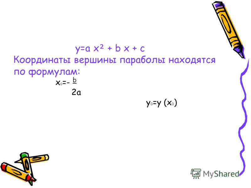 y=a x + b x + c Координаты вершины параболы находятся по формулам: x 0 =- b 2a y 0 =y (x 0 )