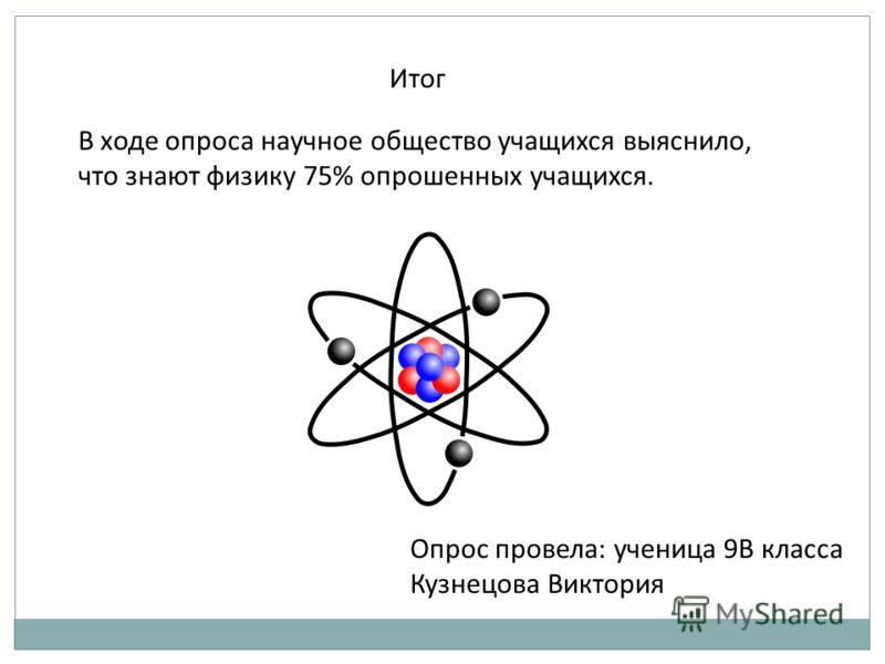 Итог В ходе опроса научное общество учащихся выяснило, что знают физику 75% опрошенных учащихся. Опрос провела: ученица 9В класса Кузнецова Виктория