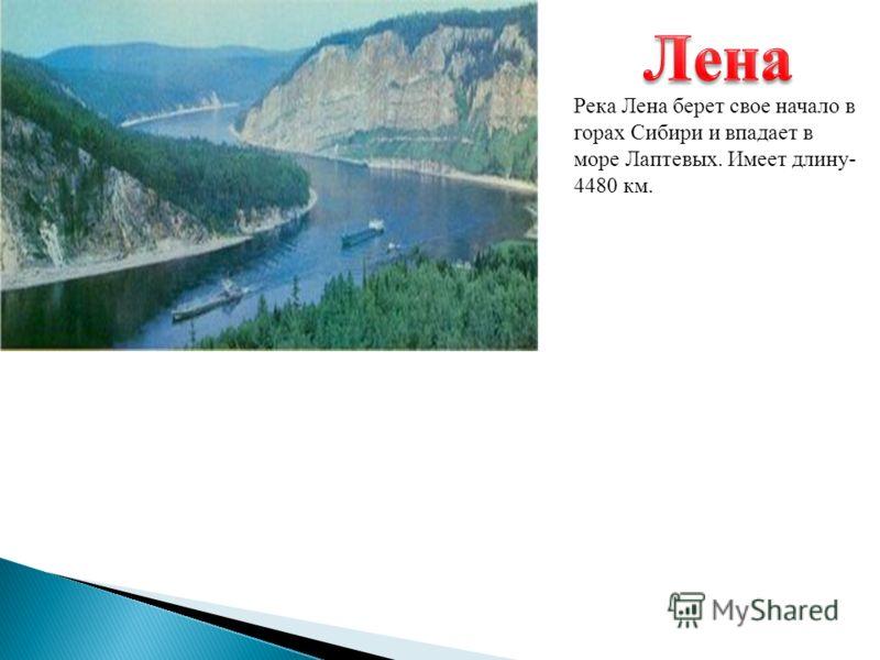 Река Лена берет свое начало в горах Сибири и впадает в море Лаптевых. Имеет длину - 4480 км.