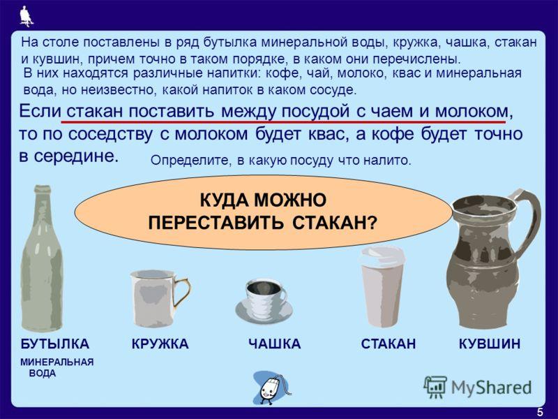 5 На столе поставлены в ряд бутылка минеральной воды, кружка, чашка, стакан и кувшин, причем точно в таком порядке, в каком они перечислены. В них находятся различные напитки: кофе, чай, молоко, квас и минеральная вода, но неизвестно, какой напиток в