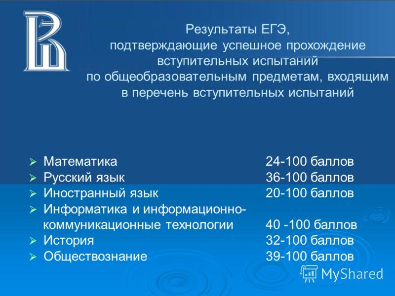 Результаты ЕГЭ, подтверждающие успешное прохождение вступительных испытаний по общеобразовательным предметам, входящим в перечень вступительных испытаний Математика24-100 баллов Русский язык 36-100 баллов Иностранный язык20-100 баллов Информатика и и
