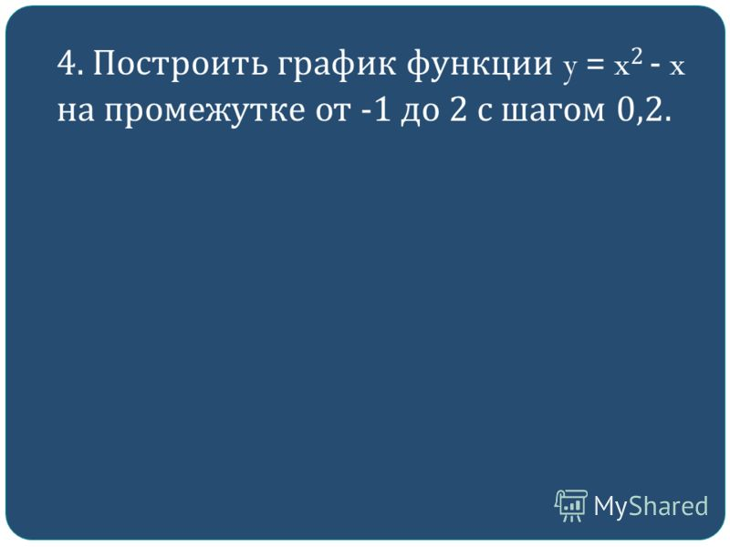 4. Построить график функции y = x 2 - x на промежутке от -1 до 2 с шагом 0,2.
