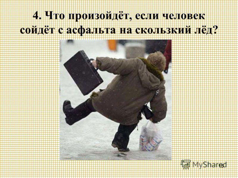 15 4. Что произойдёт, если человек сойдёт с асфальта на скользкий лёд?