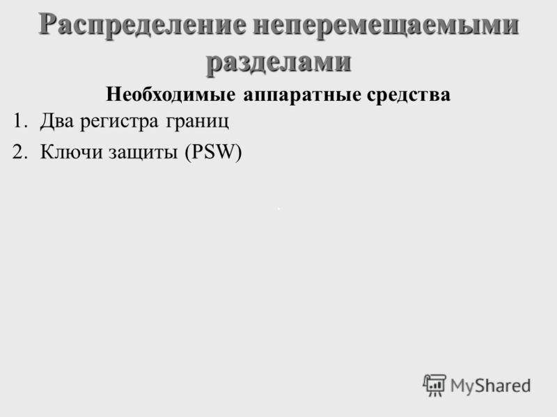 Распределение неперемещаемыми разделами 1.Два регистра границ 2.Ключи защиты (PSW) Необходимые аппаратные средства