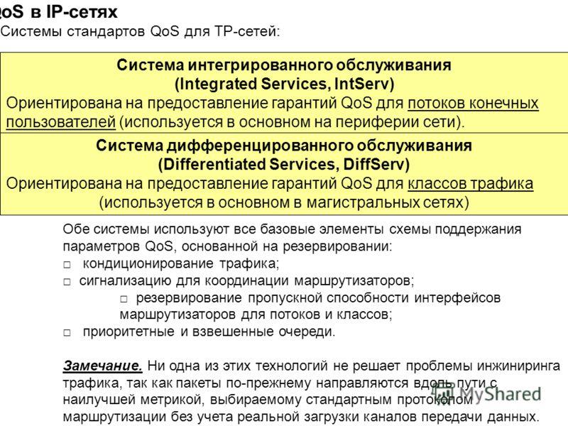 Стандарты QoS в IP-сетях Системы стандартов QoS для ТР-сетей: Система интегрированного обслуживания (Integrated Services, IntServ) Ориентирована на предоставление гарантий QoS для потоков конечных пользователей (используется в основном на периферии с