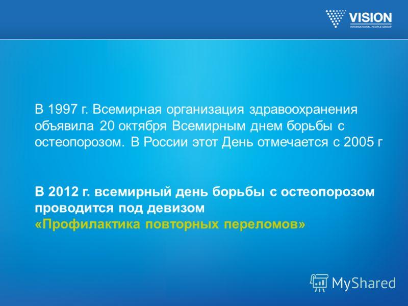 В 1997 г. Всемирная организация здравоохранения объявила 20 октября Всемирным днем борьбы с остеопорозом. В России этот День отмечается с 2005 г В 2012 г. всемирный день борьбы с остеопорозом проводится под девизом «Профилактика повторных переломов»