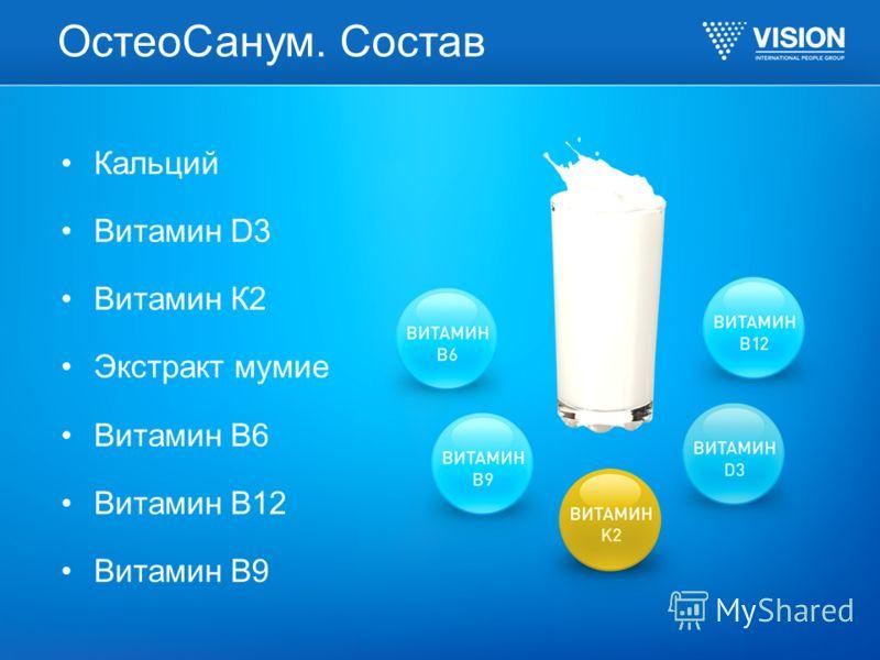 ОстеоСанум. Состав Кальций Витамин D3 Витамин К2 Экстракт мумие Витамин В6 Витамин В12 Витамин В9