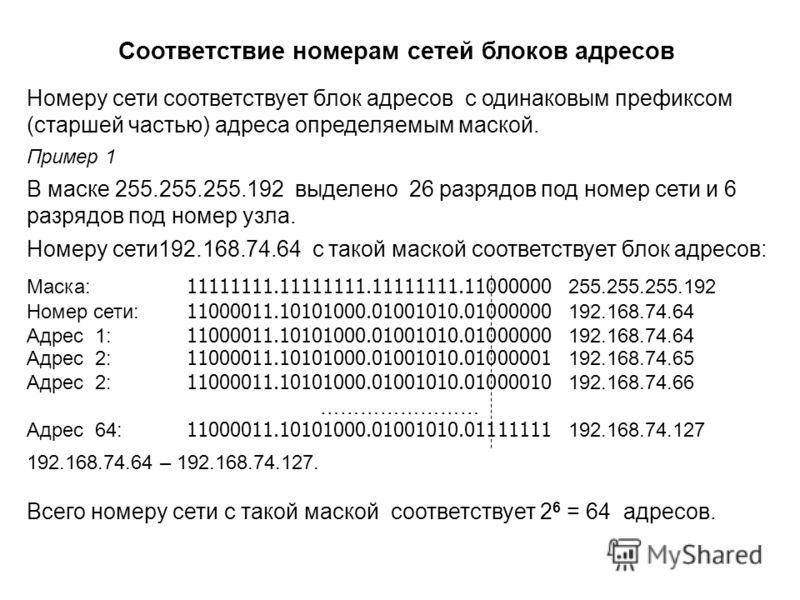 Номеру сети соответствует блок адресов с одинаковым префиксом (старшей частью) адреса определяемым маской. Пример 1 В маске 255.255.255.192 выделено 26 разрядов под номер сети и 6 разрядов под номер узла. Номеру сети192.168.74.64 с такой маской соотв