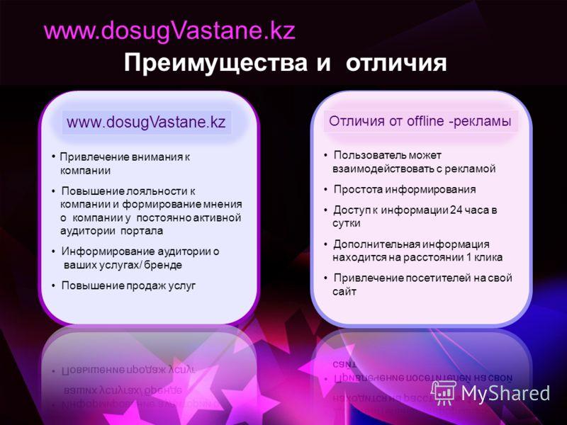 Преимущества и отличия www.dosugVastane.kz