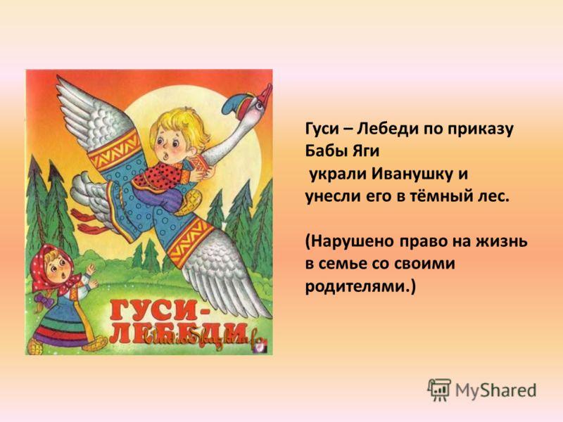 Гуси – Лебеди по приказу Бабы Яги украли Иванушку и унесли его в тёмный лес. (Нарушено право на жизнь в семье со своими родителями.)
