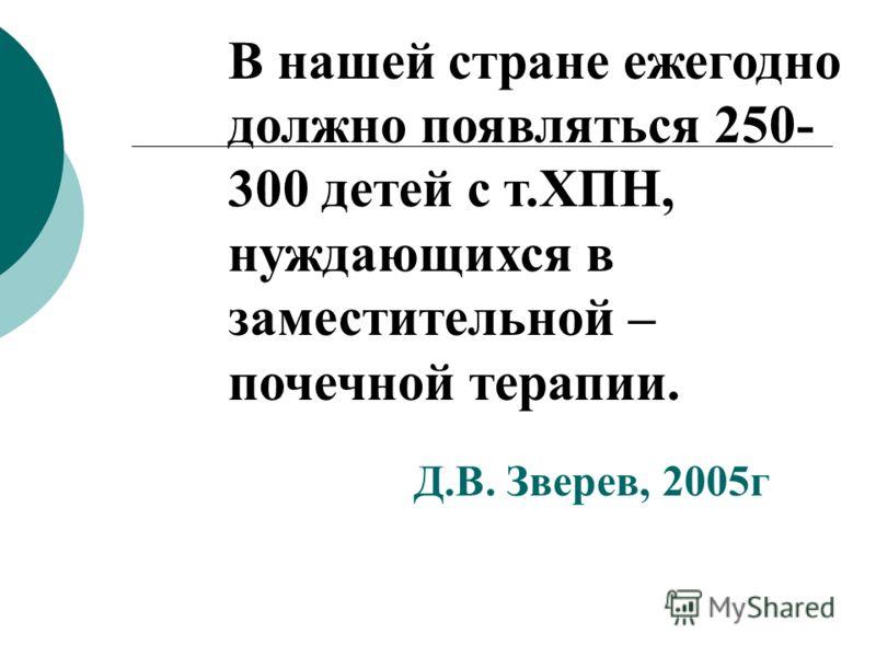 В нашей стране ежегодно должно появляться 250- 300 детей с т.ХПН, нуждающихся в заместительной – почечной терапии. Д.В. Зверев, 2005г