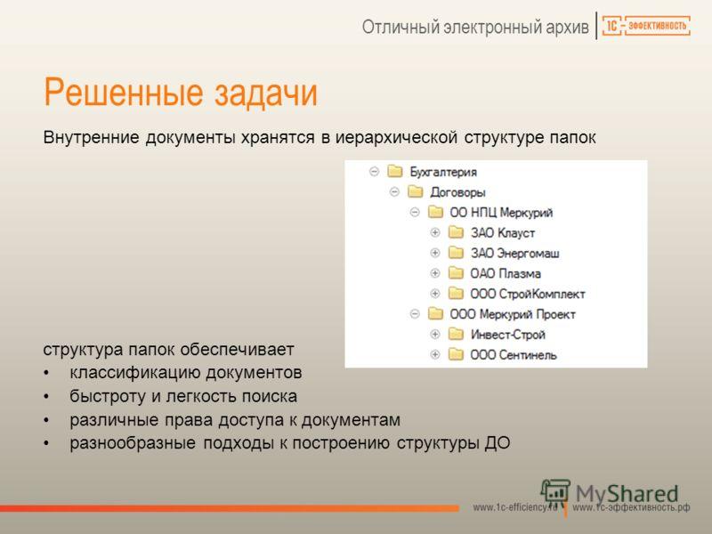 Отличный электронный архив Внутренние документы хранятся в иерархической структуре папок структура папок обеспечивает классификацию документов быстроту и легкость поиска различные права доступа к документам разнообразные подходы к построению структур