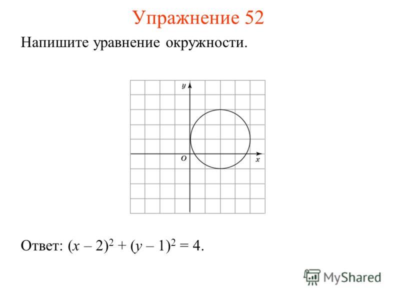 Упражнение 52 Напишите уравнение окружности. Ответ: (x – 2) 2 + (y – 1) 2 = 4.
