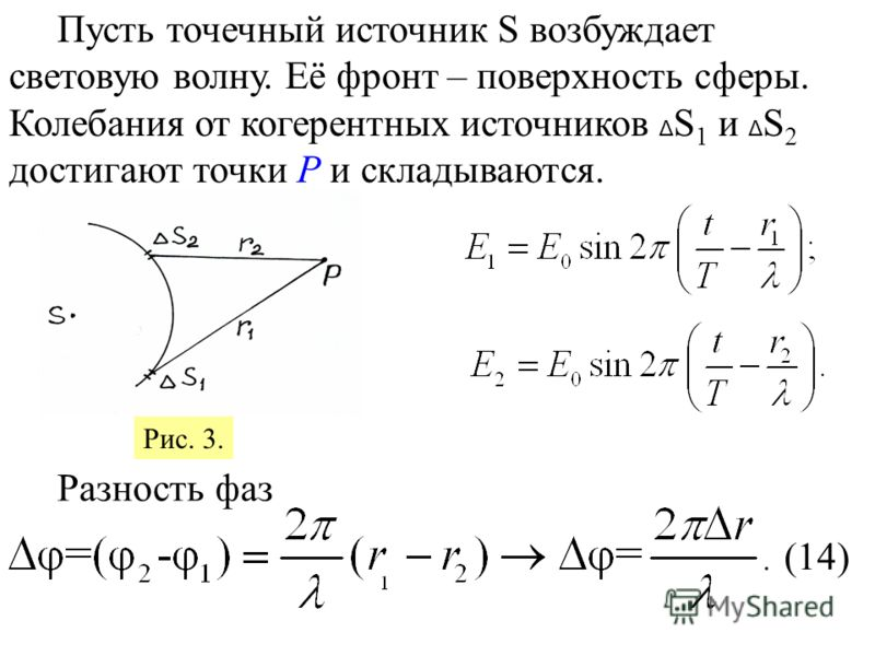 Пусть точечный источник S возбуждает световую волну. Её фронт – поверхность сферы. Колебания от когерентных источников Δ S 1 и Δ S 2 достигают точки Р и складываются. Разность фаз (14) Рис. 3.