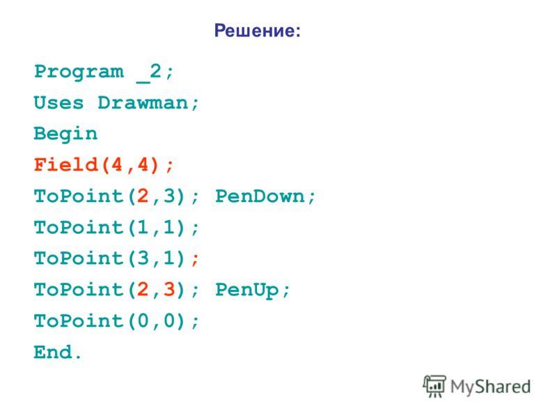Program _2; Uses Drawman; Begin Field(4,4); ToPoint(2,3); PenDown; ToPoint(1,1); ToPoint(3,1); ToPoint(2,3); PenUp; ToPoint(0,0); End. Решение: