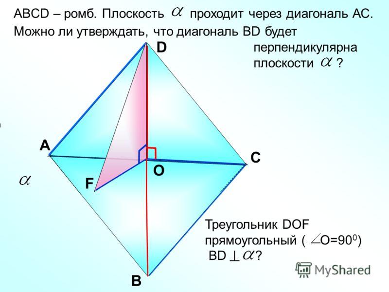 ABCD – ромб. Плоскость проходит через диагональ АС. Можно ли утверждать, что диагональ ВD будет перпендикулярна плоскости ? А В С D О F Треугольник DOF прямоугольный ( О=90 0 ) ВD ?
