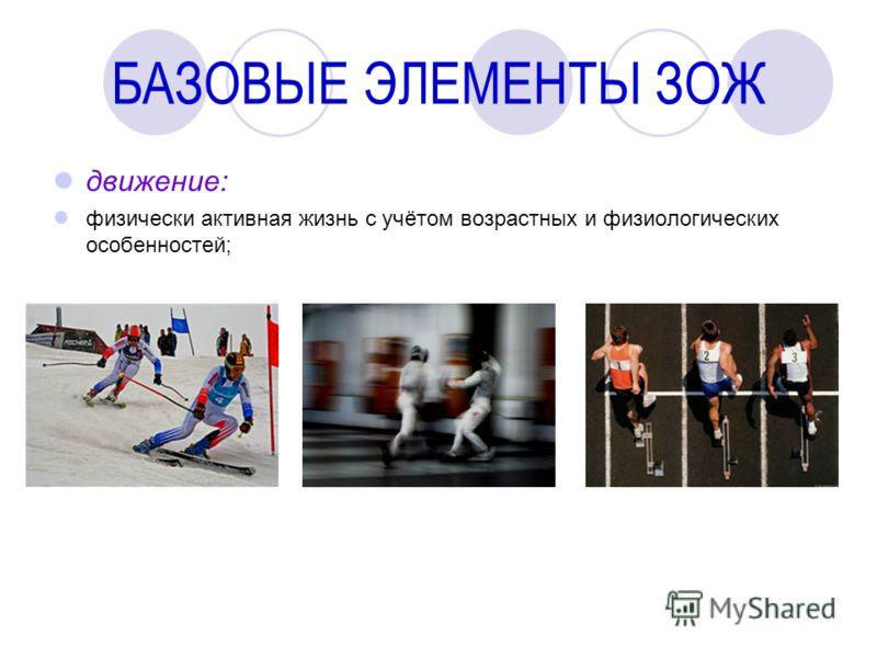 БАЗОВЫЕ ЭЛЕМЕНТЫ ЗОЖ движение: физически активная жизнь с учётом возрастных и физиологических особенностей;