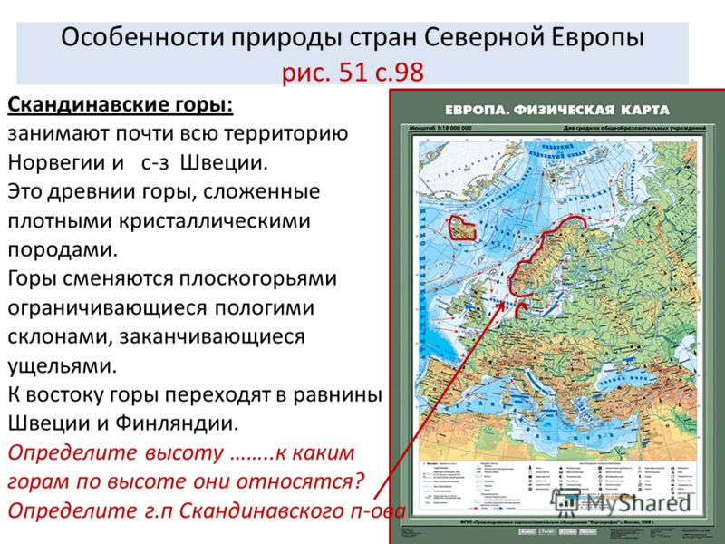 Особенности природы стран Северной Европы рис. 51 с.98 Скандинавские горы: занимают почти всю территорию Норвегии и с-з Швеции. Это древнии горы, сложенные плотными кристаллическими породами. Горы сменяются плоскогорьями ограничивающиеся пологими скл