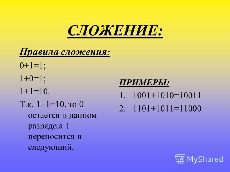 СЛОЖЕНИЕ: Правила сложения : 0+1=1; 1+0=1; 1+1=10. Т.к. 1+1=10, то 0 остается в данном разряде,а 1 переносится в следующий. ПРИМЕРЫ: 1.1001+1010=10011 2.1101+1011=11000
