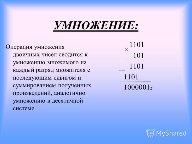 УМНОЖЕНИЕ: Операция умножения двоичных чисел сводится к умножению множимого на каждый разряд множителя с последующим сдвигом и суммированием полученных произведений, аналогично умножению в десятичной системе. 1101 101 1101 1000001 2