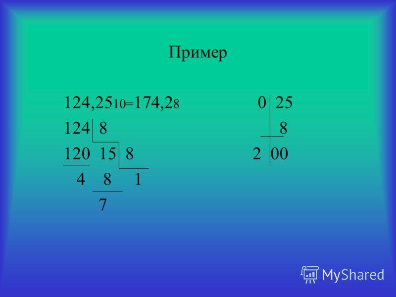 Пример 124,25 10= 174,2 8 0 25 124 8 8 120 15 8 2 00 4 8 1 7