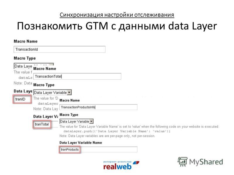 Синхронизация настройки отслеживания Познакомить GTM с данными data Layer
