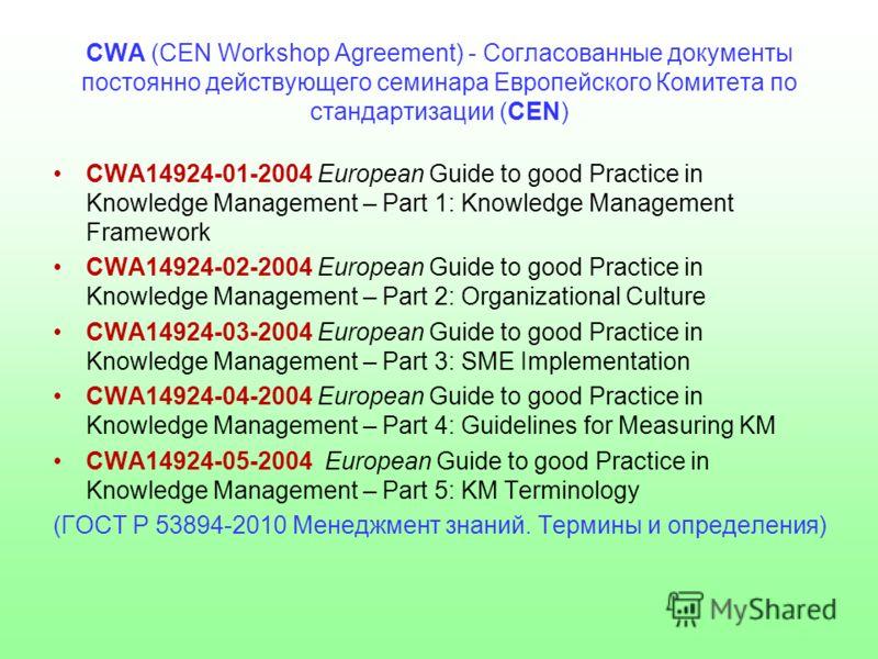 CWA (CEN Workshop Agreement) - Согласованные документы постоянно действующего семинара Европейского Комитета по стандартизации (CEN) CWA14924-01-2004 European Guide to good Practice in Knowledge Management – Part 1: Knowledge Management Framework CWA