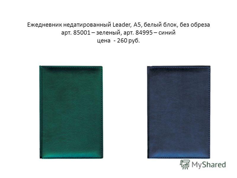 Ежедневник недатированный Leader, А5, белый блок, без обреза арт. 85001 – зеленый, арт. 84995 – синий цена - 260 руб.