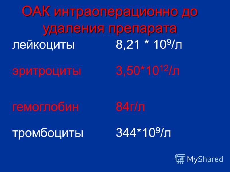 лейкоциты8,21 * 10 9 /л эритроциты3,50*10 12 /л гемоглобин84г/л тромбоциты344*10 9 /л ОАК интраоперационно до удаления препарата