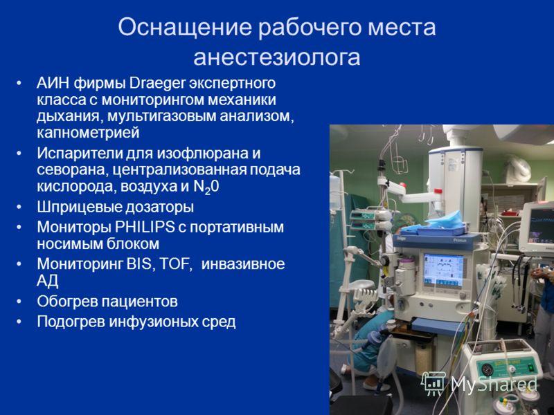 Оснащение рабочего места анестезиолога АИН фирмы Draeger экспертного класса с мониторингом механики дыхания, мультигазовым анализом, капнометрией Испарители для изофлюрана и севорана, централизованная подача кислорода, воздуха и N 2 0 Шприцевые дозат
