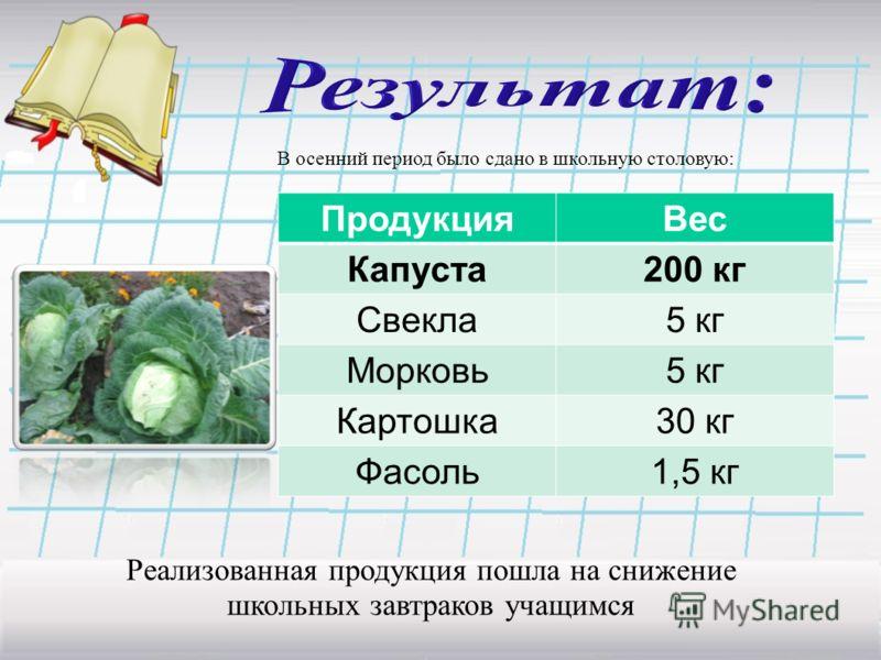 В осенний период было сдано в школьную столовую: ПродукцияВес Капуста200 кг Свекла5 кг Морковь5 кг Картошка30 кг Фасоль1,5 кг Реализованная продукция пошла на снижение школьных завтраков учащимся