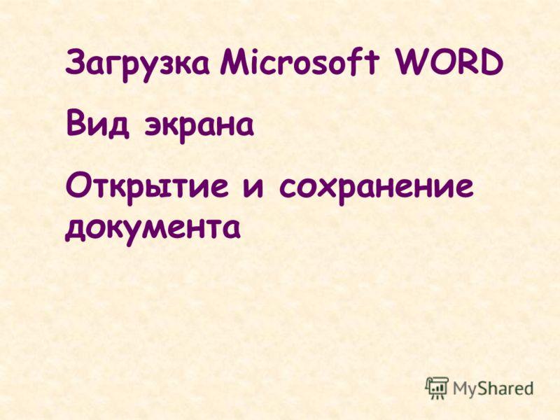 Загрузка Microsoft WORD Вид экрана Открытие и сохранение документа