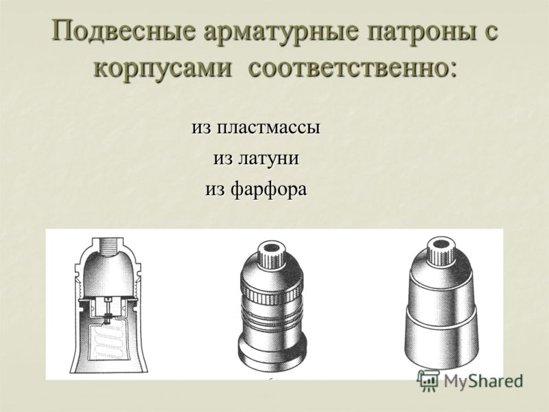 Подвесные арматурные патроны с корпусами соответственно: из пластмассы из латуни из фарфора
