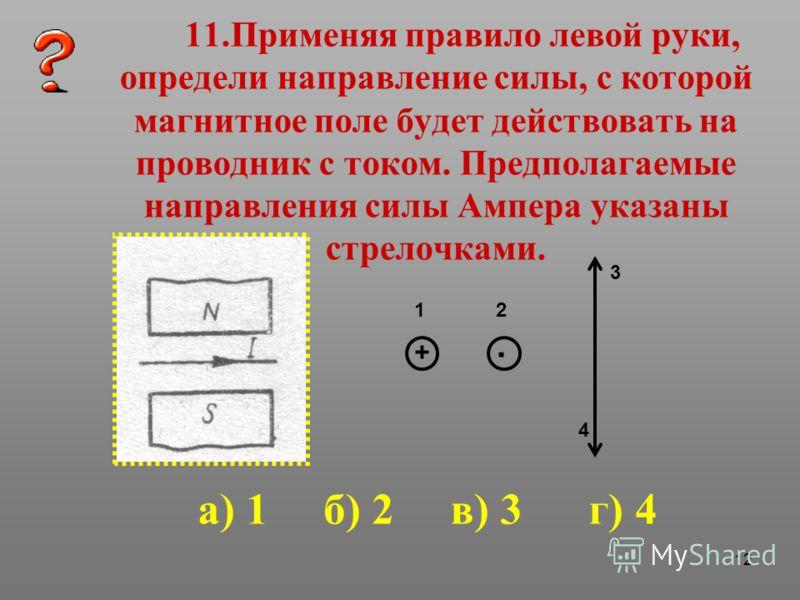 12 11.Применяя правило левой руки, определи направление силы, с которой магнитное поле будет действовать на проводник с током. Предполагаемые направления силы Ампера указаны стрелочками. 12 3 4 а) 1 б) 2 в) 3 г) 4 +.