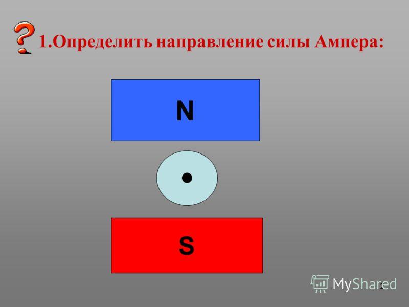 2 1.Определить направление силы Ампера: N S